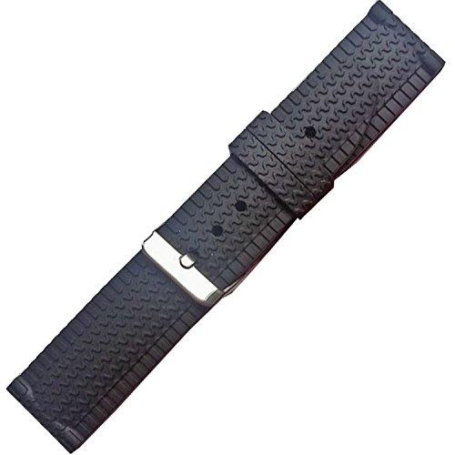Nuovo cinturino in gomma nera cinturino orologio da polso 24mm subacqueo sportivo fibbia in silicone