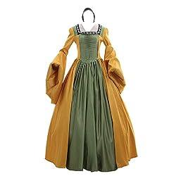 Renaissance Fairytale Dark Queen Arwen Brocade Gown Dress Halloween Costume 111