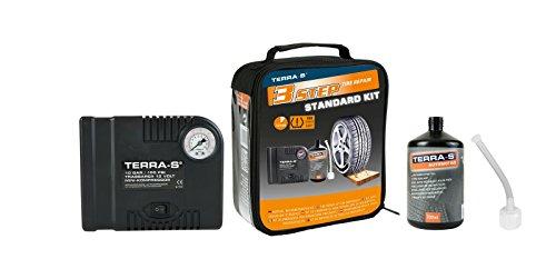 TERRA-S Reifenpannenset ~ STANDARD KIT ~ SCHWARZ ~ mit Kompressor und 700ml Dichtmittel