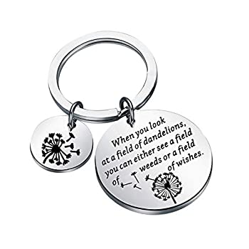 KEYCHIN Inspirational Quotes Gift Dandelions Wishes Gift Some See A Weed Others See A Wish Keychain Encouragement Gift for Best Friend  field of wishes keychain