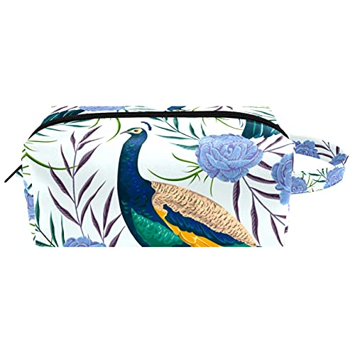 Kit de Maquillaje Neceser Animal Pavo Real Floral Make Up Bolso de Cosméticos Portable Organizador Maletín para Maquillaje Maleta de Makeup Profesional 21x8x9 cm