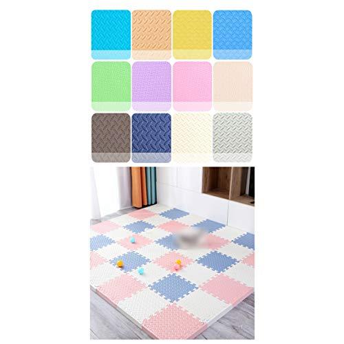 LXZFJW Azulejos de espuma de enclavamiento de azulejos de piso de espuma EVA que enclavan el suelo para bebés Sala de juego-blanco+gris azul+rosa 30×30×2.5cm 16pcs