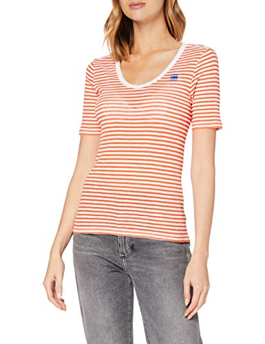 G-STAR RAW Silber Slim Fit Camiseta, Multicolor (Milk/Acid Orange Stripe 9024-B278), Medium para Mujer