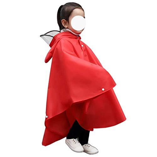 DZX Chubasquero de plástico para niños, Impermeable, Impermeable, de ala Grande, para niños, Apto para días de Lluvia y Nieve al Aire Libre, Rojo, M, Impermeables de Emergencia