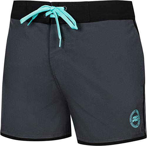 Aqua Speed Männer Schwimmhose | Beach Shorts mit Taschen für Herren | graue Badehose | Swim Trunks Beach | Beachwear | Strand Shorts | Beachvolleyball | Gr. XXL, Grau - Schwarz | Axel
