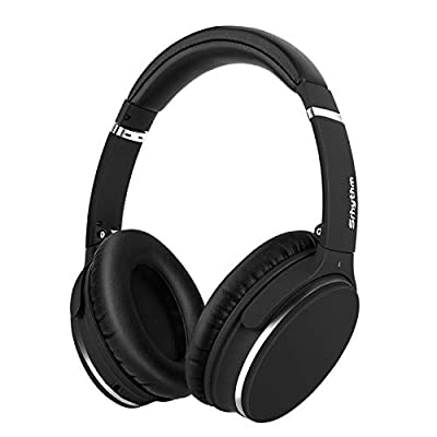 Wireless Active Noise-Cancelling Stereo Headphones Foldable,Srhythm NC25 Lightweight Headset Over-Ear with Hi-Fi,Built-In Mic,40mm HD Driver,Protein Leather Earpads - Low Latency (Matte Black) from Srhythm