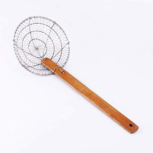 Letschef Stainless Steel Spider Strainer Asian Kitchen Wire Food Cooking Skimmer With Natural Bamboo Handle, 6-Inch, Hand-Made
