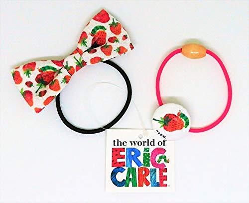 【エリックカール】ヘアゴム(リボン、くるみボタン)2種セット『イチゴ柄』