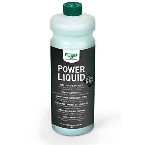 Unger Power Liquid Reinigungskonzentrat (Glasreiniger 1 Liter, Mischverhältnis 1:100, streifenfreie Reinigung) FR10S