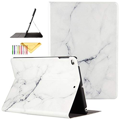 iPad 9.7 inch 2017/2018 Case/iPad Air/Air 2 Cover, Uliking [Marble Map Series] Lightweight PU Leather Stand Smart Cover with Auto Wake/Sleep for Apple iPad 5th/6th Gen/iPad Air 1/2, White Marble Map