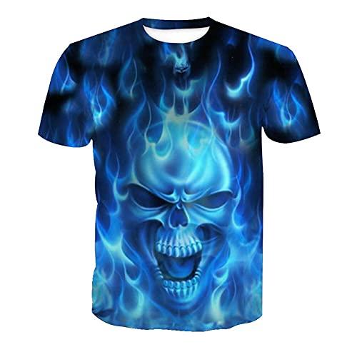EMPERSTAR Camiseta de Calavera de Disfraz de Halloween de Esqueleto 3D Negro XXL