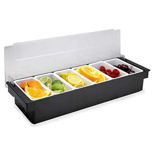 Dispensatore di condimenti a 6 scomparti | Vassoio per frutta, contorno e condimento | Bar Fruit Caddy | Porta ingredienti da cucina | Pukkr