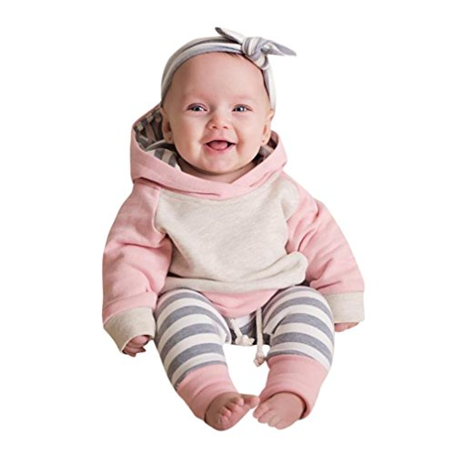 Newborn Baby Boy Girl Hoodie Clothes Outfit 3pcs/Set Long Sleeve Tops+Pants+Headband (6-12 Months, Pink)