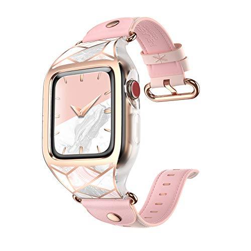 i-Blason Band Designed for Apple Watch 38 mm, [Cosmo] Stylish Sporty Protective Bumper Case with Adjustable Strap Bands for Apple Watch Series 3/2/1 (Marble)