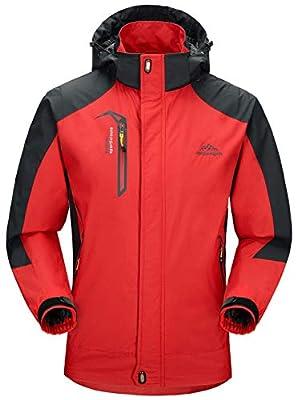 Rdruko Men's Jacket with Hood Waterproof Windproof Casual Outdoor Softshell Raincoat Sportswear(Red,US XXL)