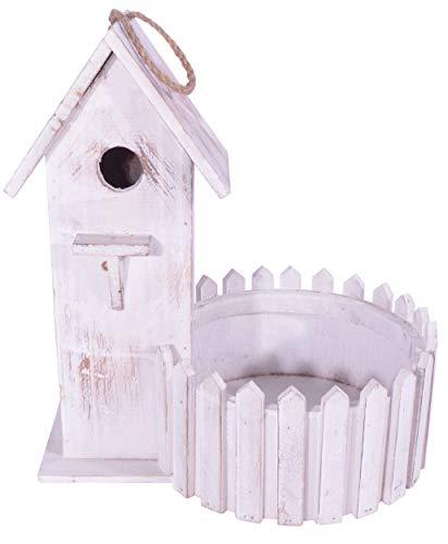 Decoratieve CHICCIE Vintage houten vogelhuis 32 cm - voederhuis nestkast vogelhuisje