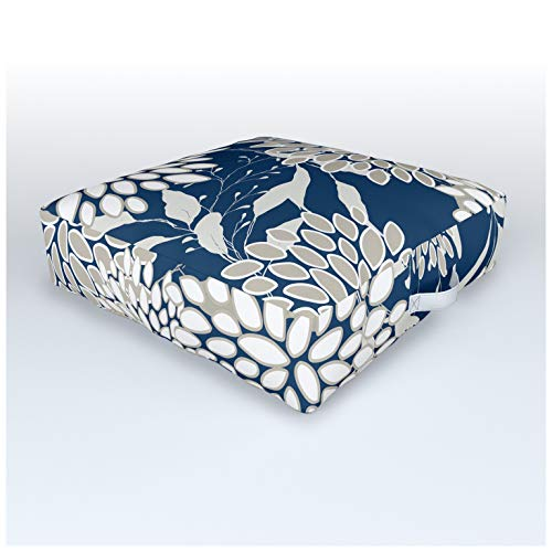 Society6 Festive, Floral Leaves and Blooms, Blue and Gray by Megan Morris on Outdoor Floor Cushion - 26' x 2
