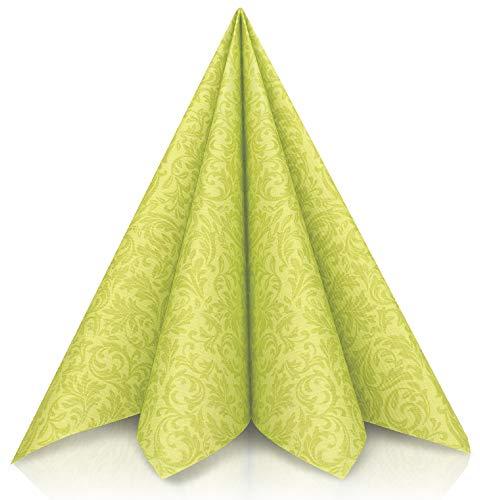 GRUBly Tovaglioli verde | tessuto simile [50pz] 40x40 | Tovaglioli da sposa di alta qualità, decorazioni da tavolo verde per il Compleanno, Natale, Comunione, Conferma, Battesimo | 3-strati di QUALITÀ