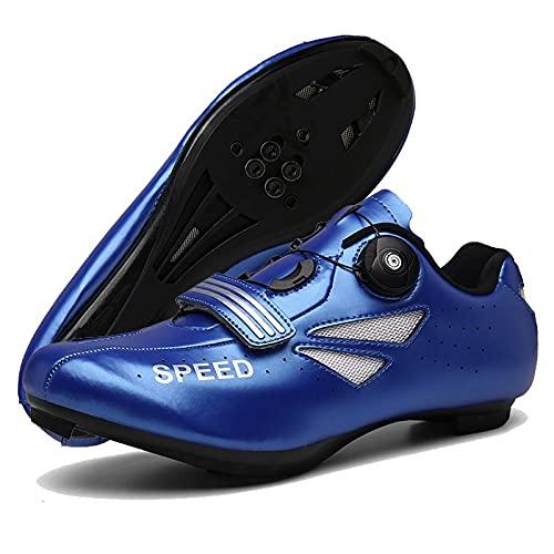ZHBW Hombre Ciclismo Calzado Deportivo Mujer Fibra De Carbono Bicicleta Compatible con Carretera SPD-SL para (Color : Azul, Shoe Size : 40 EU)