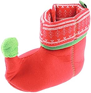 Glamour Girlz Festive Super Cute Baby Girls Boys Red & Green Elf Booties Zapatillas (rojo 0-6 meses)