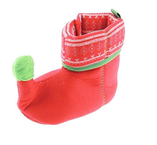 Glamour Girlz Chaussons festifs super mignons pour bébé fille garçon rouge et vert (0-6 mois)
