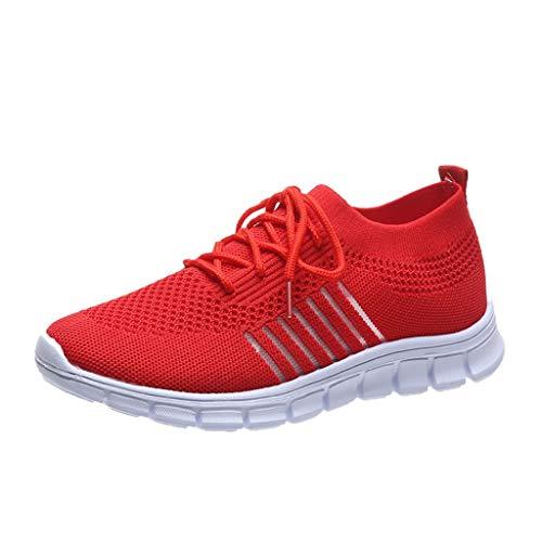 Xmiral Mesh Atmungsaktiv Sneakers Damen Einfarbige Schnür-Laufsportschuhe Joggingschuhe (38,Rot)