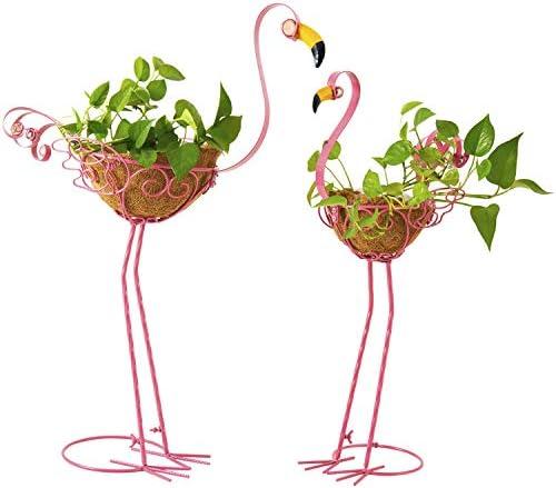 Flamingo Garden Bird Planters Set of 2 Metal Pink Flamingos Yard Ornaments with Basket Adorable product image