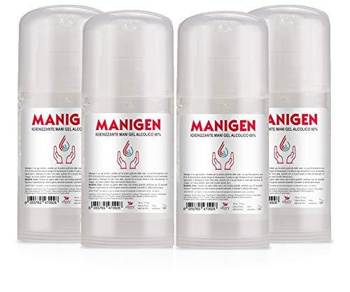 4 flaconi MANIGEN gel detergente igienizzate mani 60% alcol MAXI FORMATO 100ml