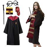 Amycute - Disfraz de Harry Potter, Albornoz Deluxe + Gafas de Mago Redondas + Varita mágica de plástico + Corbata + Bufanda Larga