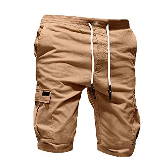 Bandage Casual Loose Sweatpants Men's Sport Pure Color Drawstring Shorts Pant Khaki