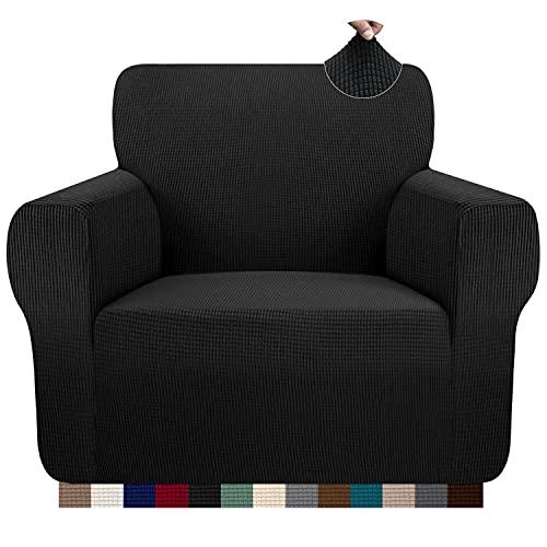 Granbest Copridivano elasticizzato, 1 posto, antiscivolo, in poliestere, lavabile, per divano, 1 posto, colore: nero
