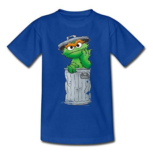 Sesamstraße Oscar Mülltonne Kinder T-Shirt, 110-116, Royalblau