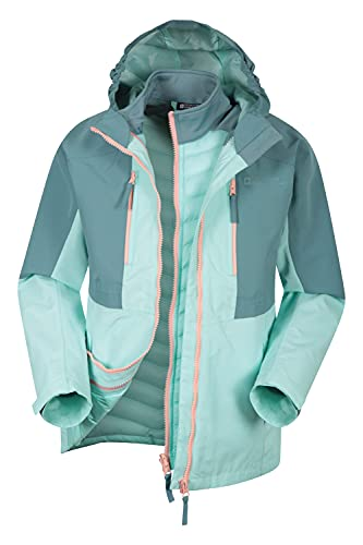 Mountain Warehouse Ravine Kids 3 in 1 Waterproof Jacket - 3000mm Girls & Boys Sports Rain Coat, Breathable, Detachable Hood - Best for Wet Weather, Outdoors & Camping Teal 9-10 Years