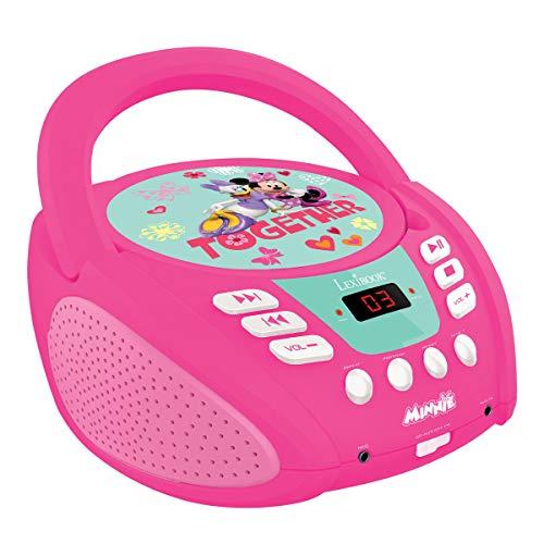 Lexibook RCD108MN Disney Junior Minnie Maus Boombox CD-Player, Mikrofonanschluss, AUX-Eingangsbuchse, AC-Betrieb oder Batterie, Rosa/Weiβ