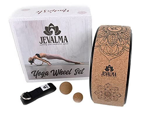 Jevalma Cork Yoga Wheel Essential Boxset. 4 Home Exercise Props. ABS Dharma Wheel for...