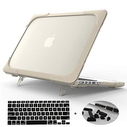 MacBook Air 13 Hulle Mektron Shockproof Hard Case Cover Faltbarer Stander fur MacBook Air 133 fur A1466A1369 mit Staubstecker und Tastaturabdeckung Khaki
