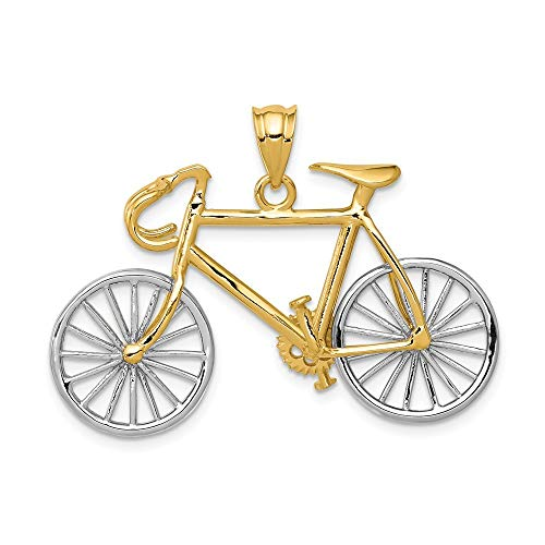 Großer Zwei-farbig, 14 Kt, D 3-Fahrrad-Anhänger Maße: 26 x 36 mm-JewelryWeb