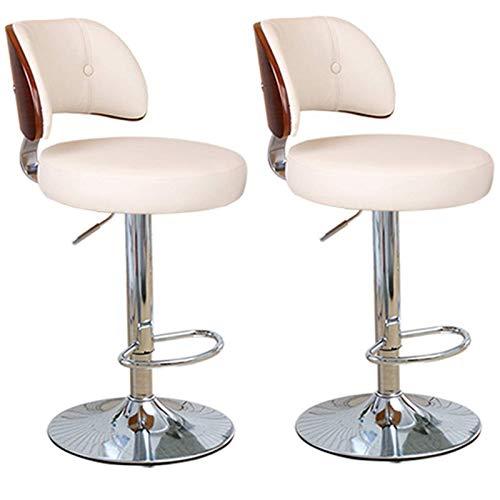 Cxcdxd Taburetes de Bar Juego de 2 sillas de Barra de mostrador de Desayuno de Cocina con reposapiés Taburete Giratorio de 360 ° Ajuste de Altura (60-80cm) Beige-1