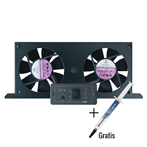 CBE Tornado - Ventilador doble para frigoríficos de camping (refrigeradores de absorción), incluye panel de mando + pasta térmica (1 g)