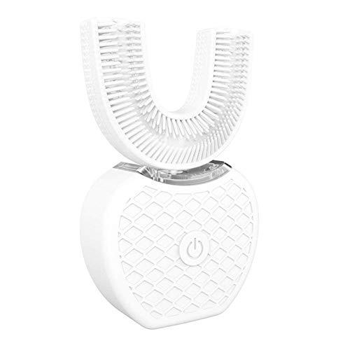 360 Automatische Elektrische Ultraschall-Zahnbürste, IPX7 Wasserdicht, Wiederaufladbar 4-Modus-USB-Silikonbürstenköpfe Smart U-Type-Zahnbürste, Dental-Mundreiniger,white2brushhead