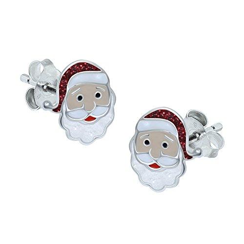 Katy Craig, Sterling Silver Santa Claus Earrings, Red Glitter - Christmas