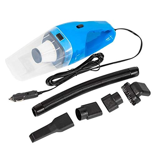 LJQLXJ aspirapolvere 120W Aspirapolvere ad aspirazione Forte per Auto 4800 Pa Elettronica per Auto 12V Portatile Wet & amp; Filtro di Ricambio a Doppio Uso Asciutto, 120w Blu