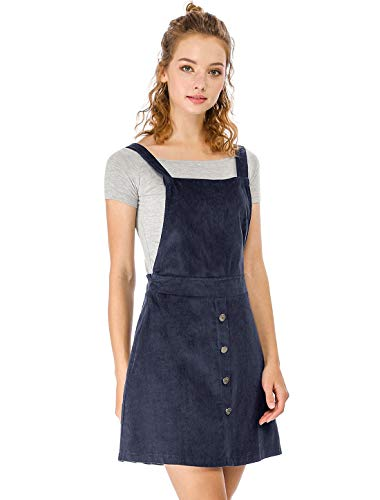 Allegra K Damen A Linie Button Dekor Cord Latzkleid Kleid Blau S