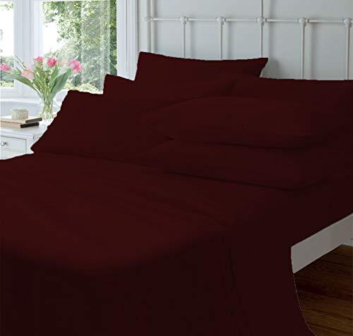 Pride Beddings - Juego de sábanas de algodón egipcio de 700 hilos, 4 piezas, 14 a 43 cm de profundidad, tejido de satén suave y suave, bolsillo profundo, ropa de cama de lujo - vino