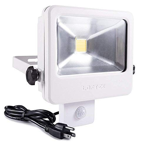 LOFTEK 30W LED Security Light with Motion Sensor, IP66 Full Metal Body Dusk to Dawn Floodlight with US 3-Plug, Automatic Sensor 3 Lighting Modes, 5000K, 250W Incandescent Equiv Outdoor Light