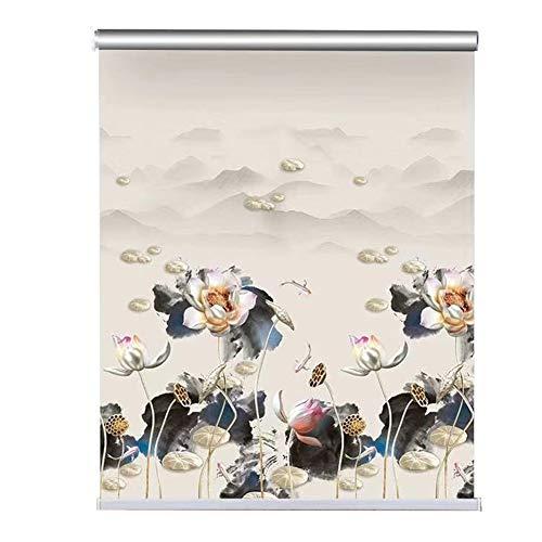 ZAQI Estores enrollables Patrón de Flor de Loto ciega Enrollable, 80/90/100/115/130/140 cm de Ancho Marrón Oscuro Sombrillas oscuras for Office School Home Kitchen (Size : 90×100cm)