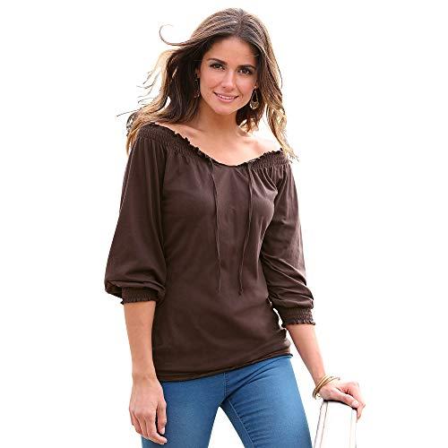Camiseta Manga 3/4 con Acabados elásticos Mujer by Vencastyle - 112158,MARRÓN Oscuro,M