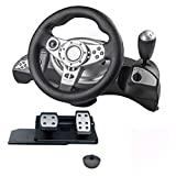 For PS4 Lenkrad,Driving Force Racing Lenkrad PS4, Dual-Motor-Feedback Driving Force Gaming-Rennrad Mit Ansprechenden Pedalen, Pedalunterstützung for PS4 /for PS3 / for PS2 / Direct-X/X-Eingang/Steam