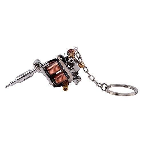 Pbzydu 【𝐏𝐫𝐨𝐦𝐨𝐭𝐢𝐨𝐧 𝐝𝐞 𝐏â𝐪𝐮𝐞𝐬】, Tattoo Machine Schlüsselanhänger, Mini Schöne leichte Eisen Schlüsselbund Tattoo Versorgung, platinierte Männer für Frauen