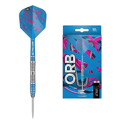 Target Darts Orb 03 80% Wolfram Steeldarts-Set (23gr - Dartpfeile), Silber, Blau und Pink